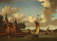 a river landscape with a castle on the shore by jacobus storck