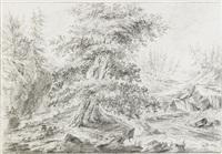 skogslandskap med vattenfall by carl peter hillestrom