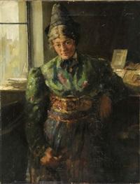 portrait einer jungen dame in grüner tracht vor einem fenster stehend by conrad pfau