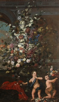 a still life of flowers in a decorated vase resting on a balustrade and two putti by franz werner von tamm