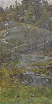 skogsinteriör från morotsvik - ornö by johann axel gustaf acke