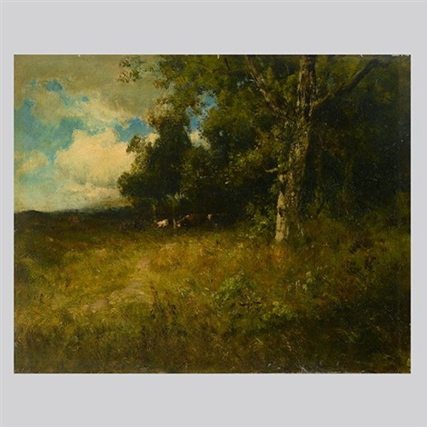 cows in a wooded glade by william keith