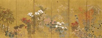 seasonal flowers (pair) by japanese school-rimpa (19)