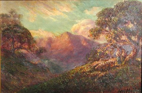 oak trees with mountains in the distance by jules r mersfelder