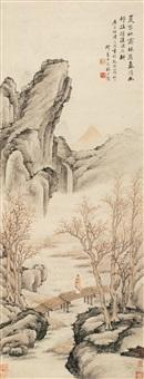 秋林漫步图 (character and landscpe) by fang xun