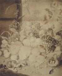 nature morte med frugter og insekter by johann-friedrich arnold