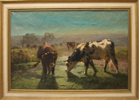 pastoral landscape with cows by aymar (aimard alexandre) pezant