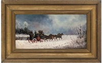 a stagecoach on a summer's evening (+ a stagecoach in winter; pair) by philip h. rideout