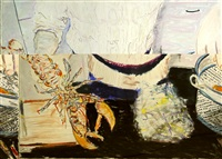untitled (melons on a plate) and untitled (lobster dinner) (2 works) by billy sullivan