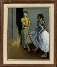 ballet dancer with instructor by moses soyer