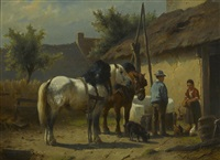 figures and two horses outside of a barn by wouter verschuur the younger