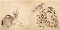 five animals (in 2 panels) by matsumura goshun, okamoto toyohiko, matsumura keibum, and oku bunmei
