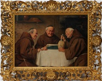 monks around a table by adolfo bacci