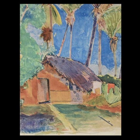 tahitian village from noa noa by paul gauguin