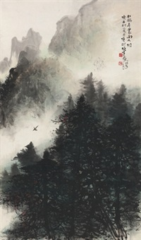 杜鹃声里雨如烟 (misty mountain) by li xiongcai
