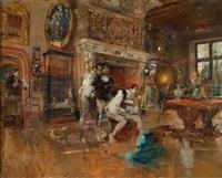 interieur mit drei männern beim betrachten eines gemäldes by mariano josé maría bernardo fortuny y carbó