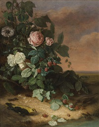 still life with flowers, berries and wildlife by george cochran lambdin