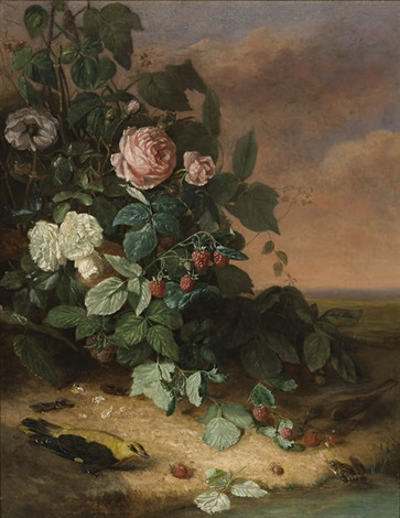 still life with flowers berries and wildlife by george cochran lambdin