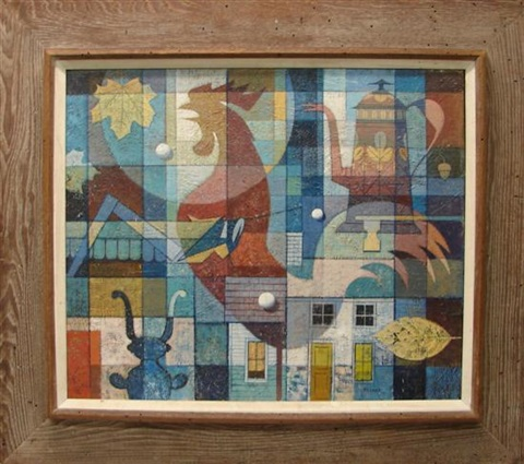 modernist composition with rooster leaves coffeepot buildings by john foster