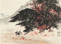 秋山策马图 (riding horses in autumn mountain) by li xiongcai