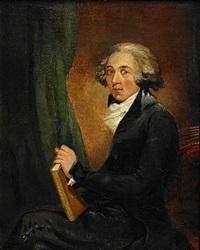 porträtt av den engelske läkaren sir william fordyce, iklädd svart rock och krås med en bok i sin hand by carl fredrik van breda