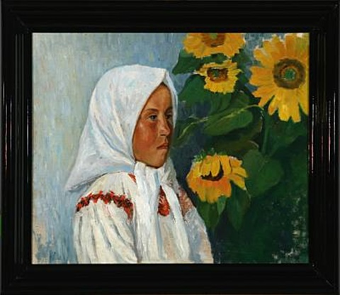 russian girl at sunflowers by vladimir meurman