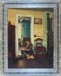 im türstock sitzendes, lesendes junges mädchen mit getigerter katze im stubeninterieur by friedrich (fritz) raupp
