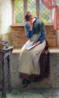 cottage interior with woman reading a letter by william harris weatherhead
