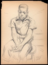 seated boy by hughie lee smith