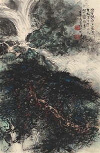 唐人诗意图 (landscape inspired by a poem) by li xiongcai