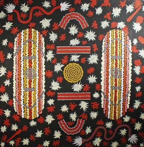 mens ceremony by clifford possum tjapaltjarri