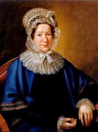 portrait einer dame mit weißem spitzenhäubchen und blauem umhang by karl gottlieb schweikart