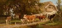 kühe vor einem gehöft by johann michael (volz) voltz