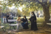 nuns in the garden of the stella maris cloister in maastricht by philip lodewijk jacob frederik sadée