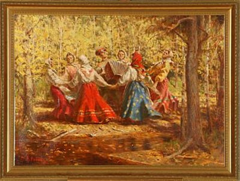 Russian dancing to accordion music in a forest by Vasily