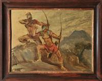 zwei bogenschützen im gebirge gehen zum angriff über by franz reinhardt the elder