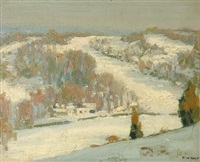 gray skies and snow fields by percy william holt