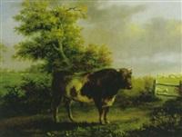 landschaft mit schwarzweissen stier by friedrich wilhelm pfeiffer