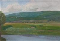 landschaft bei thielle - im vordergrund der zihlkanal by gustave jeanneret