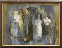 birdcage and basket of eggs by stanley mitruk