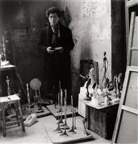 alberto giacometti in his studio rue hippolyte-maindron by michel sima