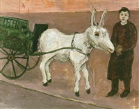 woman with a donkey by herman roderick volz