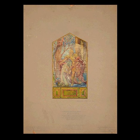 sketch for a stained glass memorial window by louis comfort tiffany