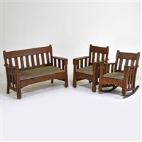 three-piece parlor set: settee by arts & crafts mission