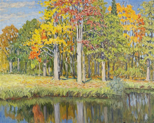 autumn landscape by nikolai petrovich bogdanov-bel'sky
