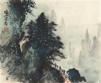 云岭险径图 (dangerous path in mountain) by li xiongcai