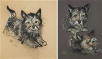two cairn terriers (study; + for the glocks; 2 works) by maud tousey fangel
