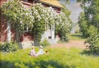 gårdsidyll i sommargrönska by johan fredrik krouthen