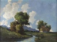 sommertag mit alpenpanorama, malerischer baumgruppe und gehöft by hans purrmann