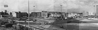 panorama crossing karl-marx-allee, memhardstrasse and karl-liebknecht-strasse, berli (in joined 6 parts) by heinz lieber